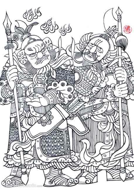 门神简笔画-祝大家猴年吉祥,万事如意