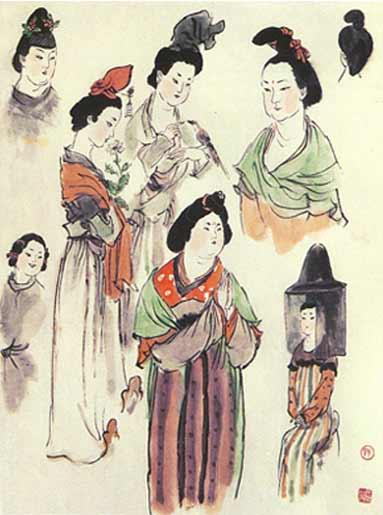 中国仕女画的服饰应首推唐代为最具特色,且又能符合-戴敦邦个人主页图片